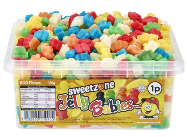 Sweetzone Jelly Babies Sweets Assorted Flavours HMC Approved Halal Sweets 960g (600 Pieces)