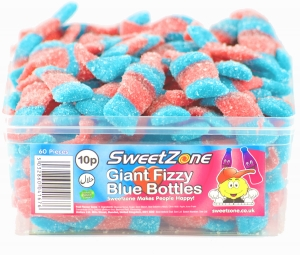 SweetZone 100% Halal Jelly Sweets - Giant Fizzy Blue Bottles Tub of 60pcs