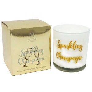 Sparkling champagne candle with gold packaging